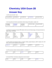Exam 2 Form B Key fall 07CHEM103A Dr. Keller