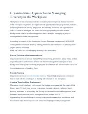 Organizational Approaches to Managing Diversity in the Workplace