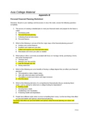 Week 1 - Personal Financial Planning Worksheet - Assignment