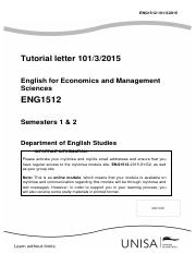 eng1501 assignment 1 Tax4861/101 3 1 introduction and welcome dear student we welcome you and hope that you will find the academic year both interesting and rewarding, and that.