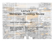 Lecture 7 Membrane Physiology