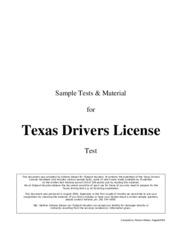 Texas Drivers License Test - Sample Tests Material for Texas