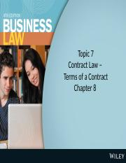 SIM.RMIT.AustralianCommerciaLaw.Contract Law - Terms of a Contract Chap 8 CC