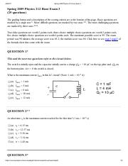 Spring 2009 Physics 212 Hour Exam 3