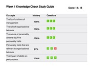 week 9 knowledge check study guide Week 9 knowledge check study guide concepts mastery questions setting expectations 100% 1 2 measuring performance 100% 4 5 approaches to control.