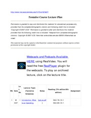 Lecture Plan CS162