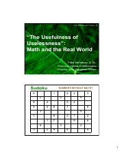 THE USEFULNESS OF USELESSNESS, MATH IN THE REAL WORLD