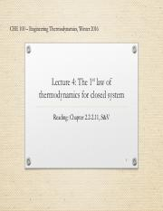Lecture 4 - The 1st law of Thermodynamics for closed system