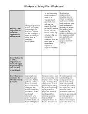 workplace safety plan worksheet workplace safety plan worksheet identify osha regulations or. Black Bedroom Furniture Sets. Home Design Ideas