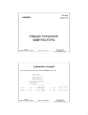 ee120a Lecture 16 - Datapath Components - Subtractors (Slides 2x1 bw)