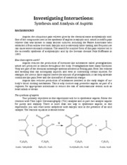 Aspirin Synthesis and Analysis LH