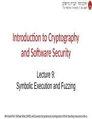 Lecture 9 -- Symbolic Analysis and Fuzzing
