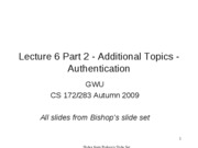CS283 - Lecture 6 - Part 2 - Additional Topics - Authentication