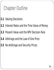 FIN 611 Chapter 3 NPV Law of 1 Price Lecture Notes