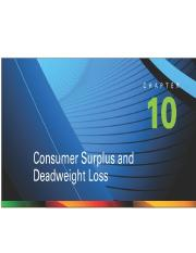 Chapter 10-Consumer Surplus & Deadweight Loss