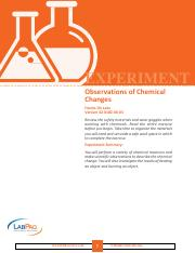 EXP Observations of Chemical Changes