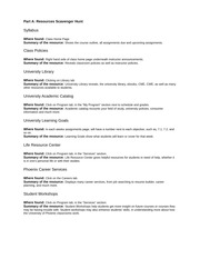 Student Resources Worksheet