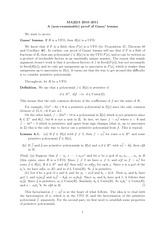 Lecture on Gauss' Lemma