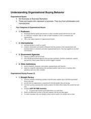 Understanding Organizational Buying Behavior Notes