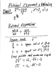 Class 3 Notes (Rational Expontrents and Radicals, Rational Expressions)