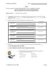 Printables Energy Work And Power Worksheet Answer Key work and power worksheets versaldobip energy worksheet answers vintagegrn