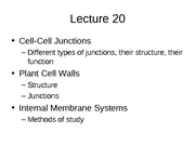 Lecture 20 Cell-cell interactions then internal membrane systems