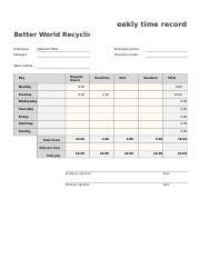tibbs weekly time sheet eekly time record better world recycli