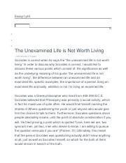 explain the unexamined life is not worth living