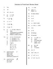 Solutions to Final Exam Review Sheet