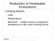 Production in Freshwater Ecosystems