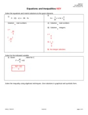 Equations and Inequalities PI KEY