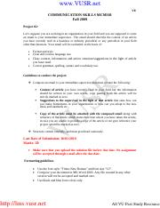 Communication Skills - MCM301 Fall 2009 Assignment 02