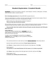 Student Exploration- Covalent Bonds (ANSWER KEY).docx ...