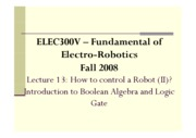 13 - How to Control a Robot (II) - Introduction to Boolean Algebra and Logic Gates
