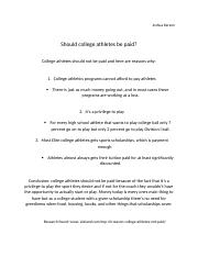 Should college athletes be paid position paper.docx