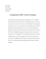 Assignment Lm8 Creative strategy