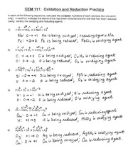 Oxidation Reduction Practice Problems - CEM 111 Oxidation and ...