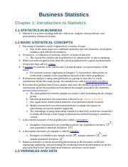 Business Statistics Reading Notes Chapters 1-3
