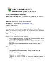 GZU COURSE OUTLINE PGDHTE 508 rtf - GREAT ZIMBABWE
