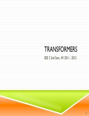 EEE 3 Lecture 10 - Transformers