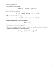 Copy of Complex Numbers -- Homework #8