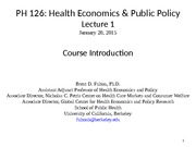 PH126 Lecture 1. Course Overview 01.20.15