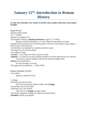 CS 2300B - Study Notes by Theme -  (3) Introduction to Roman History