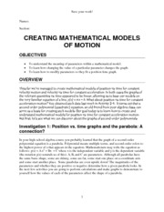 Lab Creating Mathematical Models of Motion