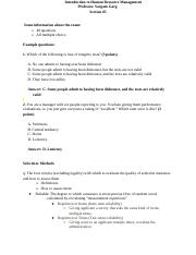 Intro to HRM Exam 2 Study Guide