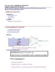 P215 notes: Membrane Transport