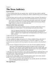 Lecture Notes Ch 9 The Texas Judiciary