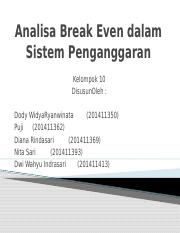 Analisa Break Even dalam Sistem Penganggaran.pptx