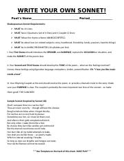 Sonnet Worksheet