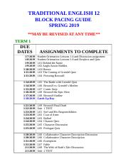 TRADITIONAL ENGLISH 12 PACING SPRING BLOCK 2019.docx